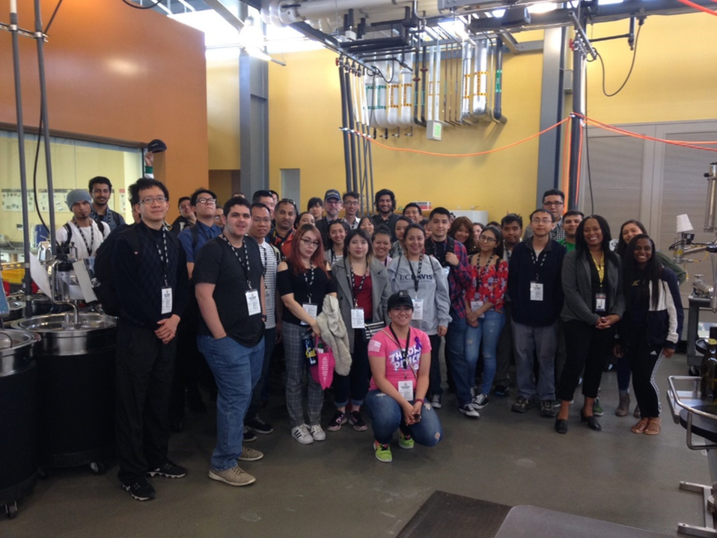 Prospective students from St. Helena High School visit the UC Davis LEED Platinum Teaching and Research Winery