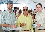 Photo features Andrew Waterhouse with Steve Wallace, owner of Wally's Wine World and Ron Runnebaum, recipient of the Michael Bonaccorsi scholarship at the August 2006 event.